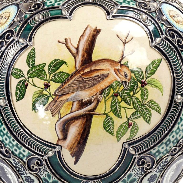 Glazed Ceramic and White Metal 'Alpaca' Jar , One of a Kind For Sale