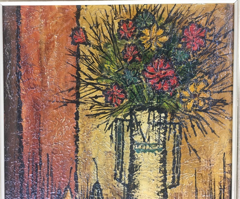 French Mid-Century Modern Bouquet of Flowers in the Style of Bernard Buffet, Signed For Sale