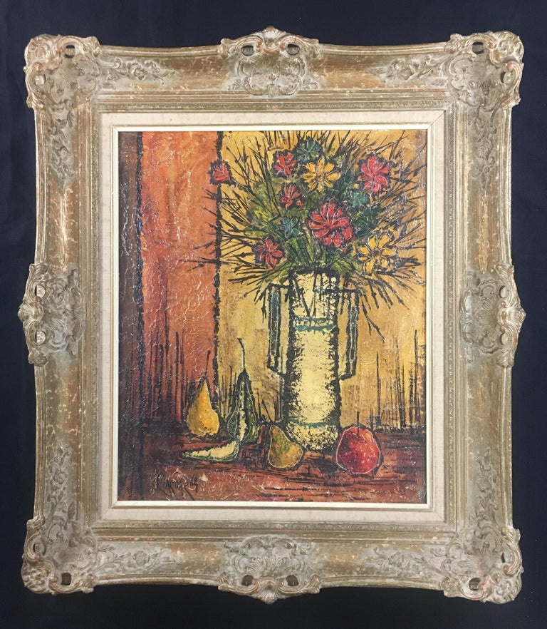 Mid-Century Modern Bouquet of Flowers in the Style of Bernard Buffet, Signed In Good Condition For Sale In Arles, FR