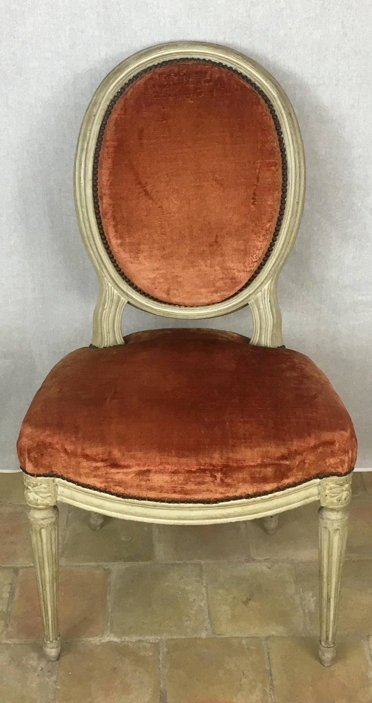 Velvet Set of Eight 19th Century Louis XVI Medaillon Dining Chairs For Sale