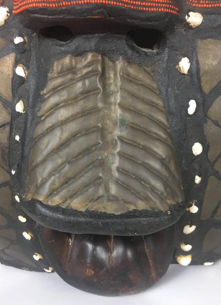 Copper Very Large Mid-20th Century African Tribal Mask For Sale