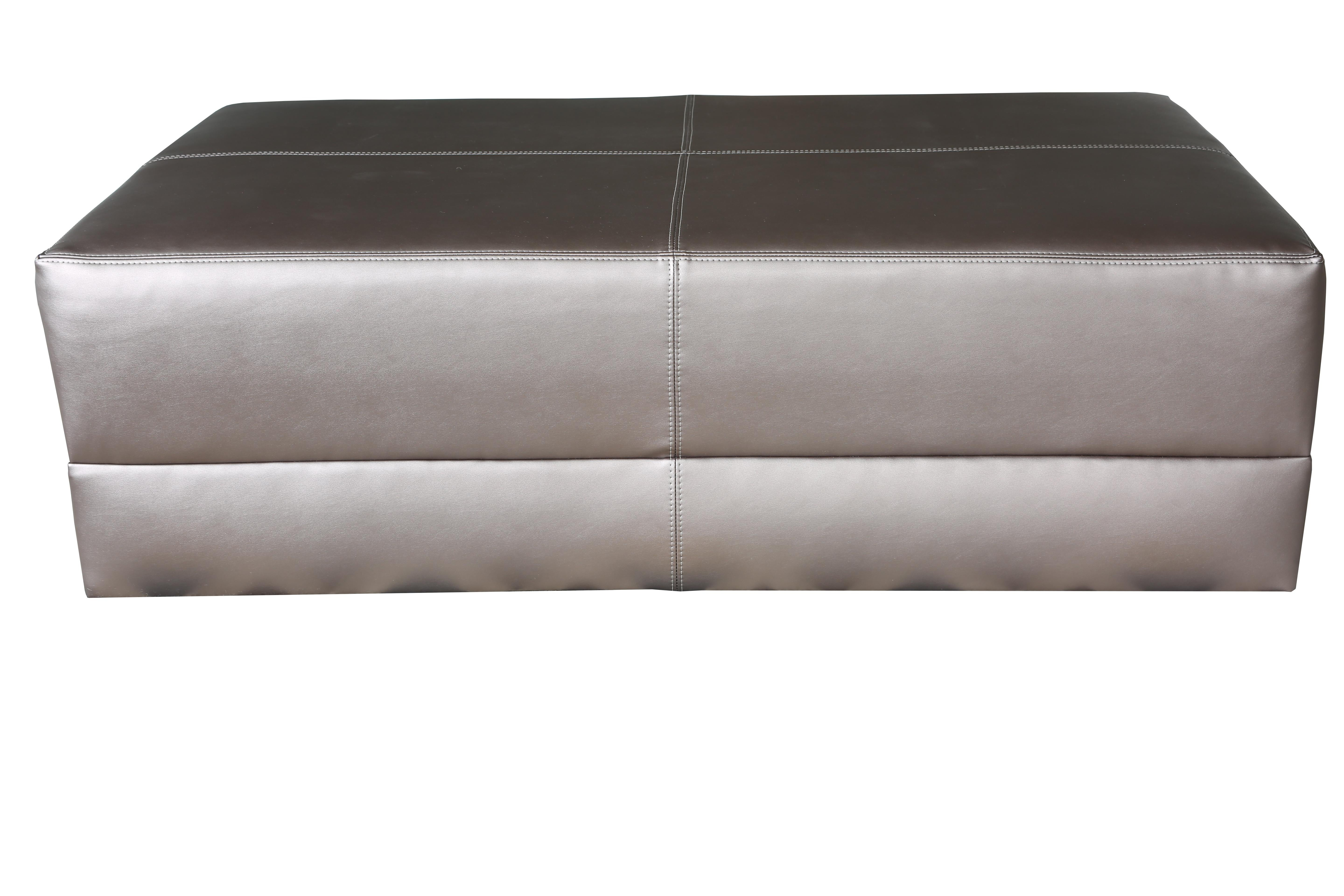 Upholstered Cocktail Coffee Table, Metallic Leatherette, Ottoman, Faux  Leather In New Condition For