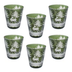 Set of Six Glass Tumbler Green with Hunting Decor Sofina Boutique Kitzbuehel