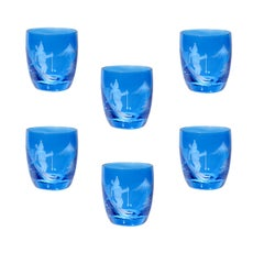Set of Six Schnapps Glasses Blue with Skier Decor Sofina Boutique Kitzbuehel