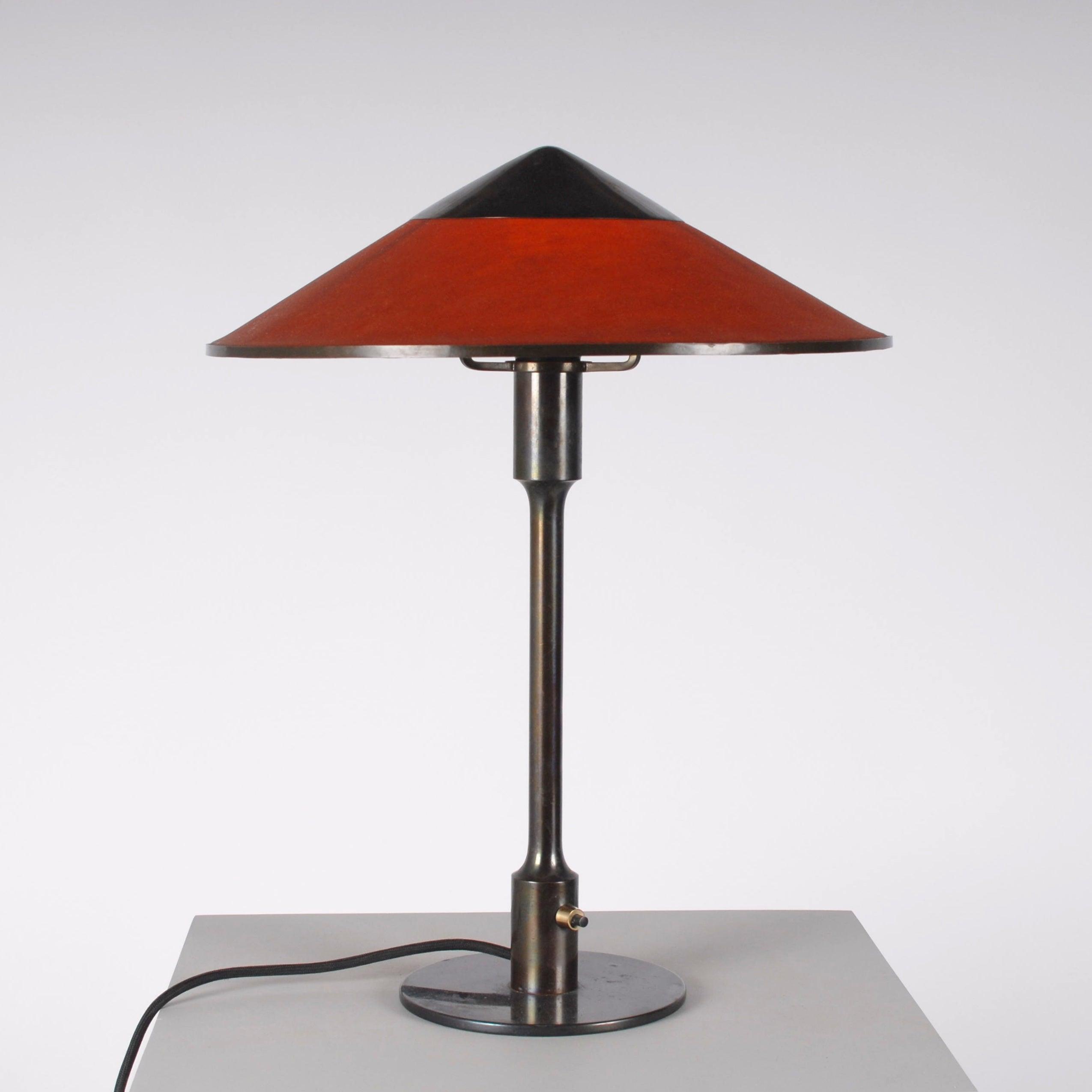 Danish Midcentury Bronze Patinated Thykier Table Lamp Amber Red