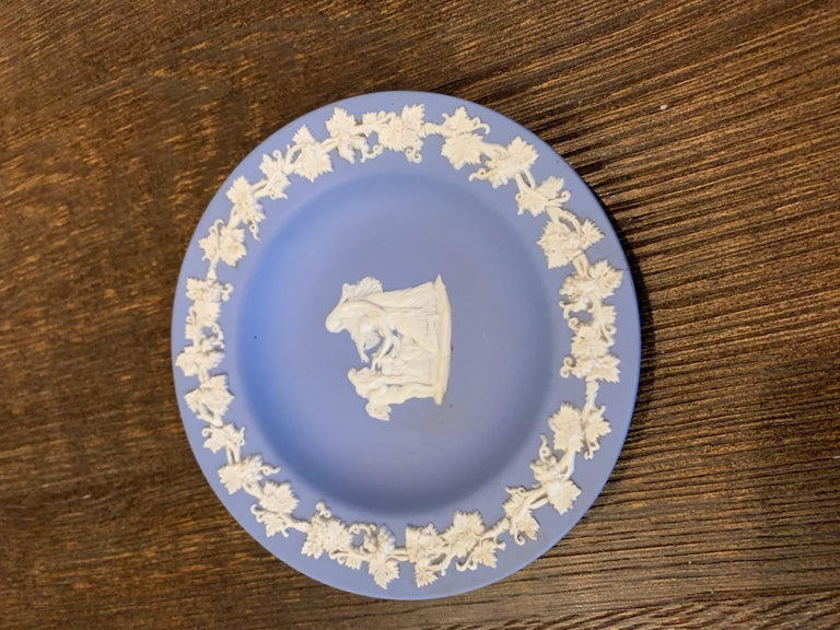 Midcentury Wedgwood Jasperware cream on blue Perfectly preserved, this sweet trinket plate will add elegance and history to your home use it on your coffee table, vanity, powder room.  Valentine's Day , Wedding or shower gift, anniversary or