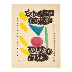 Vintage Picasso Exhibition Poster, Exposition Peinture Vallauris, 1956