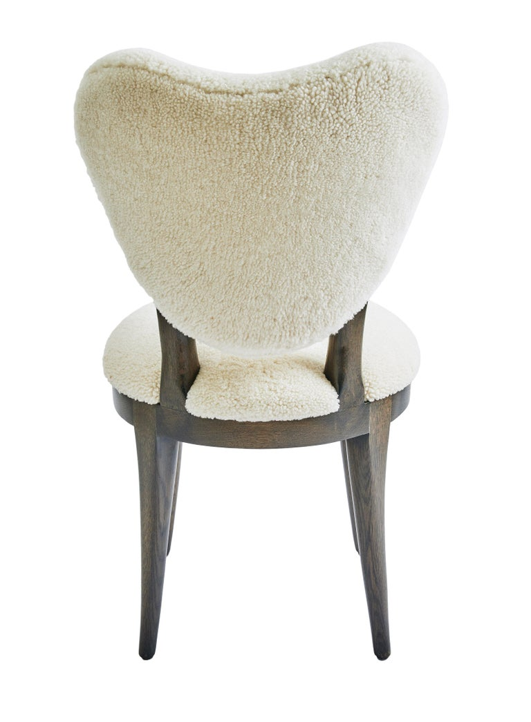Mid-Century Modern Contemporary Coy Chair White Sheepskin Upholstered Dining Chair or Side Chair For Sale