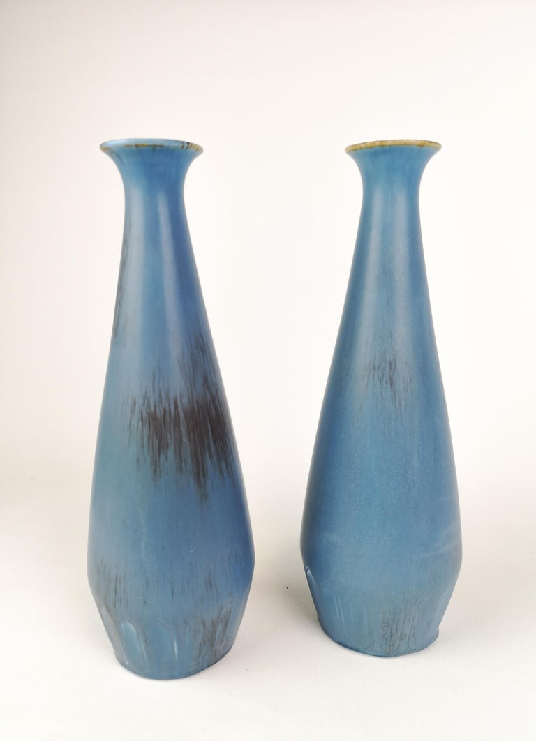 Two rare vases produced by Rörstrand and designed by Gunnar Nylund Sweden in the early 1950s. 