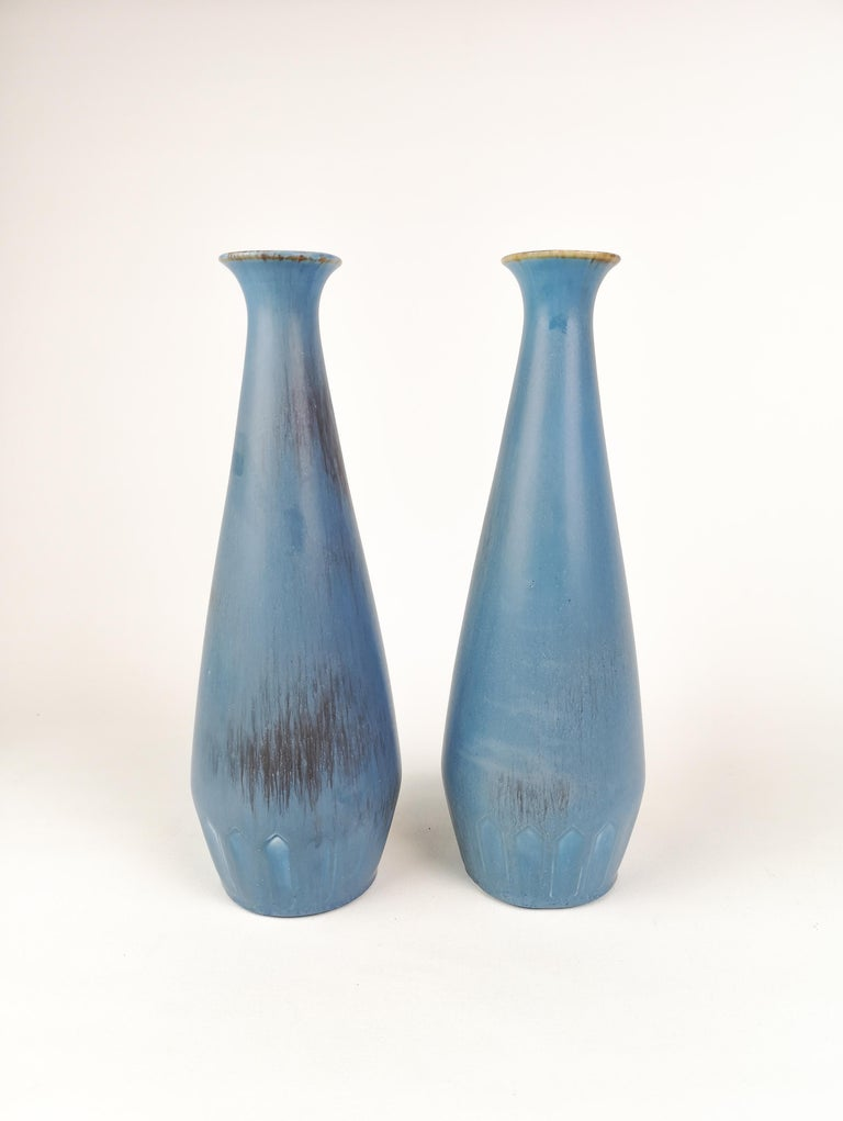 Mid-Century Modern Pair of Gunnar Nylund Ceramic Vases by Rörstrand in Sweden For Sale