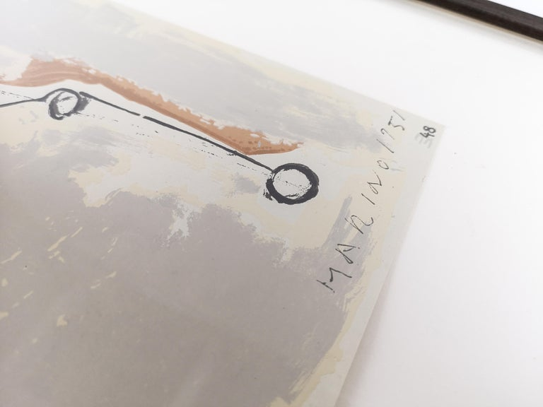 Lithograph by Marino Marini, from the Marino Marini portfolio, printed by Carl Schunemann, Germany, circa 1968. Framed.  Signed.