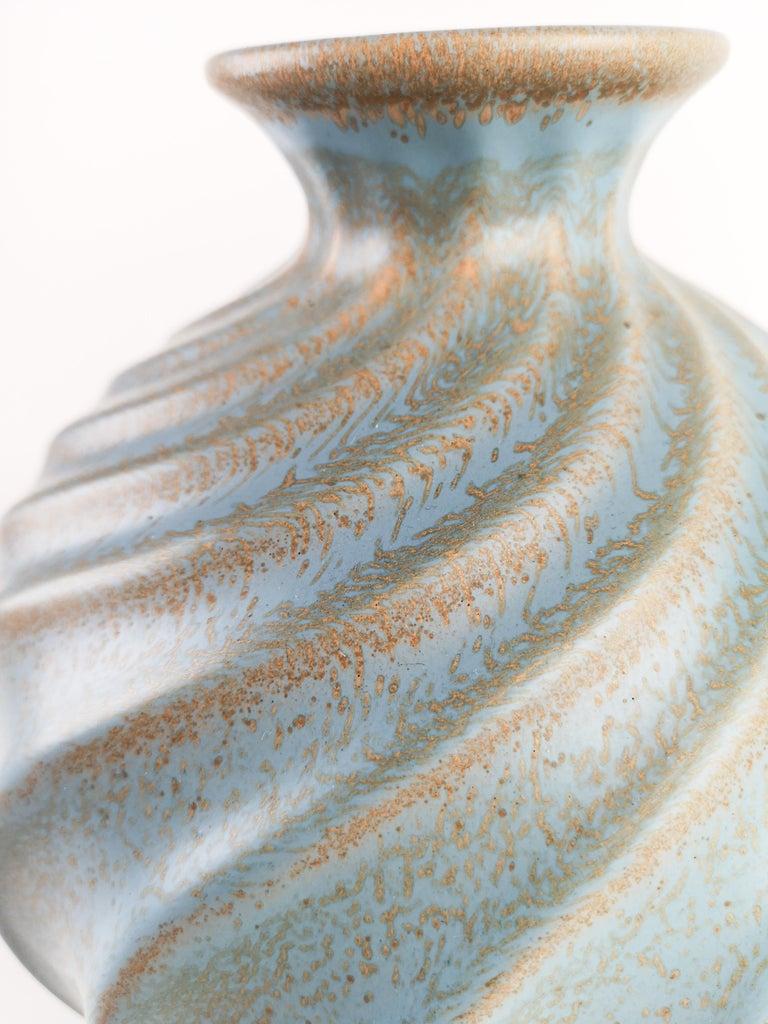 Ewald Dahlskog for Bo Fajans, Large Swedish Ceramic Vase Turkos In Excellent Condition For Sale In Langserud, SE