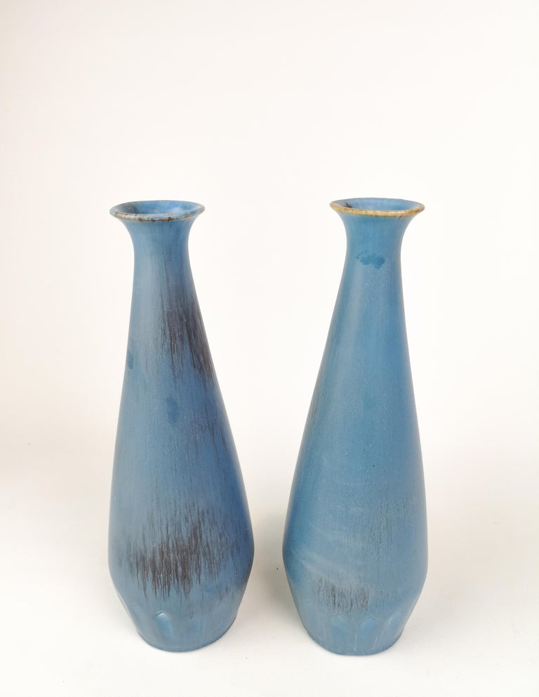 Swedish Pair of Gunnar Nylund Ceramic Vases by Rörstrand in Sweden For Sale