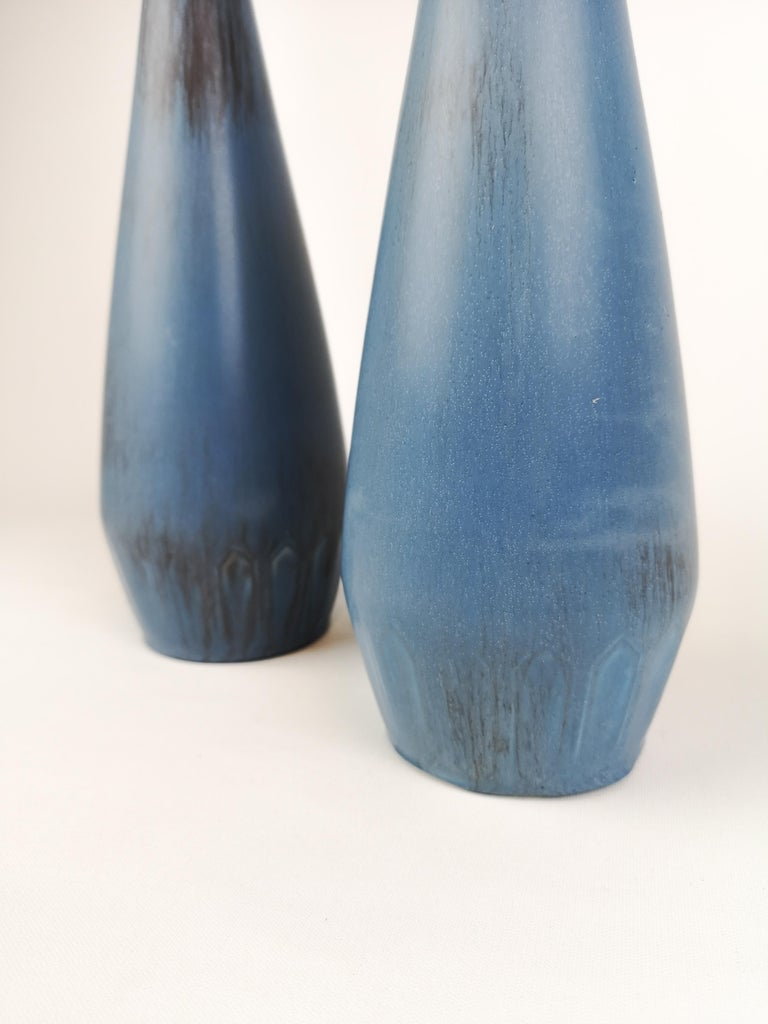 Mid-20th Century Pair of Gunnar Nylund Ceramic Vases by Rörstrand in Sweden For Sale