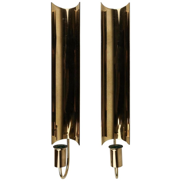 Pair of Brass Wall Candlesticks, Reflex by Pierre Forsell for Skultuna For Sale