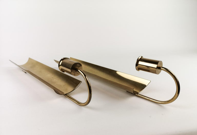 Pair of Brass Wall Candlesticks, Reflex by Pierre Forsell for Skultuna In Good Condition For Sale In Langserud, SE