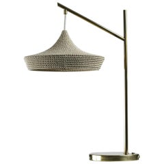 Cave Table Light in Ecru, Hand Crocheted in 100% Mercerized Egyptian Cotton