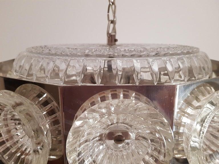 Scandinavian Modern Carl Fagerlund Vintage Chandelier Chrome and Glass 1960s, Orrefors Sweden For Sale