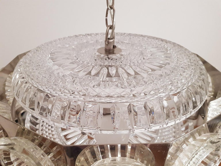 Swedish Carl Fagerlund Vintage Chandelier Chrome and Glass 1960s, Orrefors Sweden For Sale