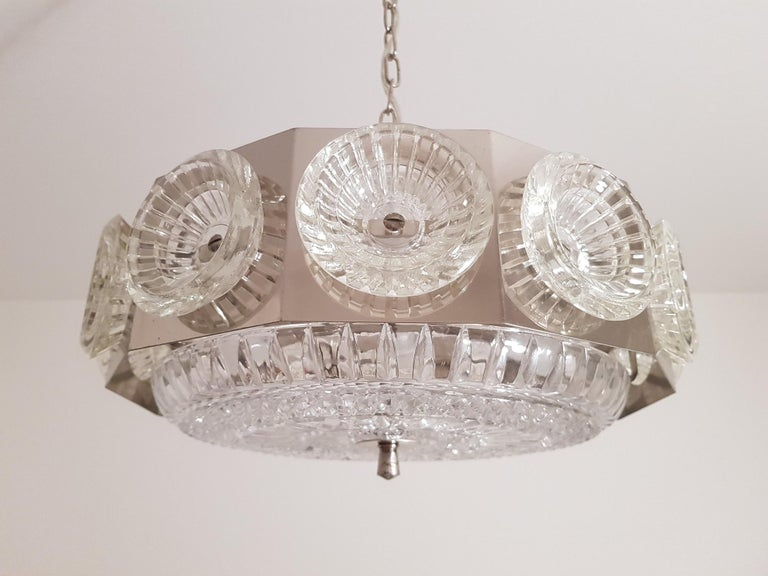 Hand-Crafted Carl Fagerlund Vintage Chandelier Chrome and Glass 1960s, Orrefors Sweden For Sale