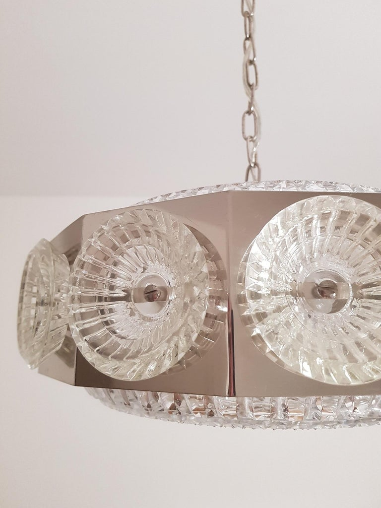 20th Century Carl Fagerlund Vintage Chandelier Chrome and Glass 1960s, Orrefors Sweden For Sale