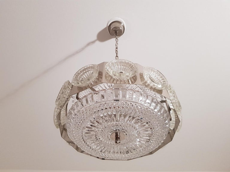 Carl Fagerlund Vintage Chandelier Chrome and Glass 1960s, Orrefors Sweden For Sale 1