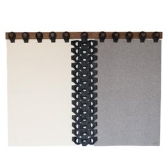 Queen Vertebrae Wall Tapestry in Shades of Grey with Peg Rail by Moses Nadel