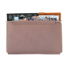 Wall Pocket in Taupe Leather and Stainless Steel by Moses Nadel