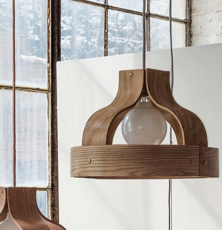 American Wood Pendant Light, Bound by Carnevale Studio, Maple For Sale