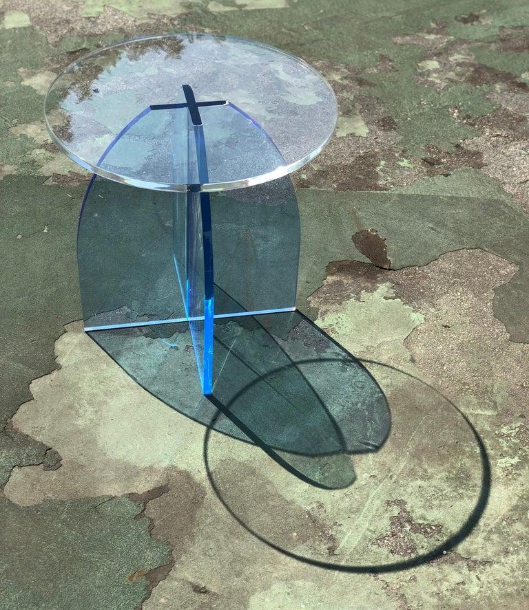 Modern Blue Circular Acrylic Side Table, Sheer by Carnevale Studio For Sale