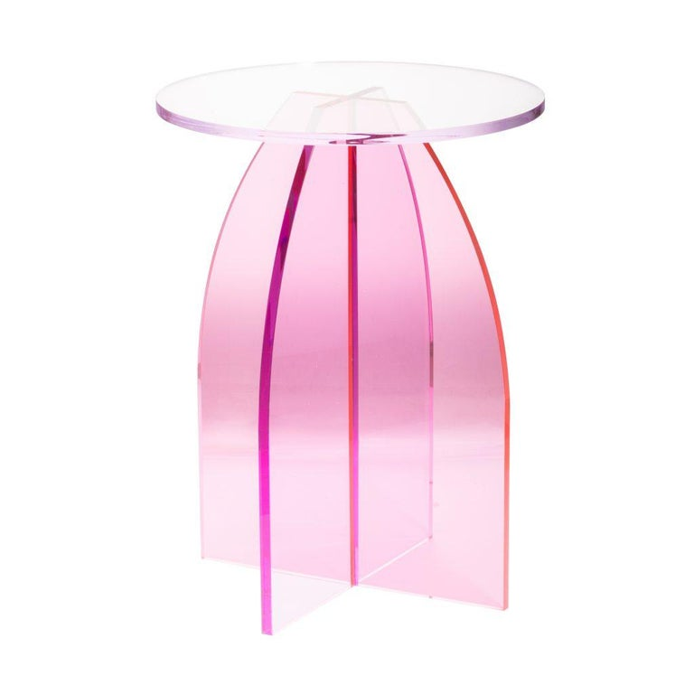 Pink Circular Acrylic Bedside Tables, Sheer by Carnevale Studio For Sale