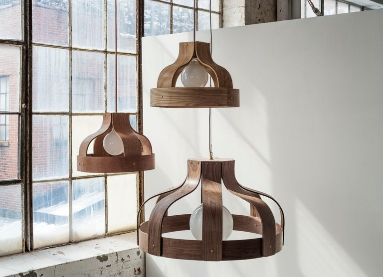 Modern Wood Chandelier, Large and Circular, Bound by Carnevale Studio, Walnut For Sale