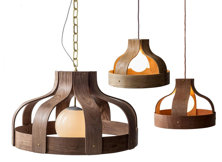 American Wood Chandelier, Large and Circular, Bound by Carnevale Studio, Walnut For Sale