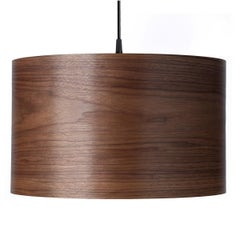 ARA Walnut Wood Drum Pendant Chandelier