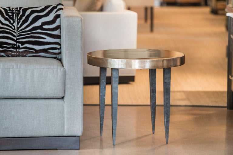 American Round Bronze Side Table with Tapered Steel Legs For Sale