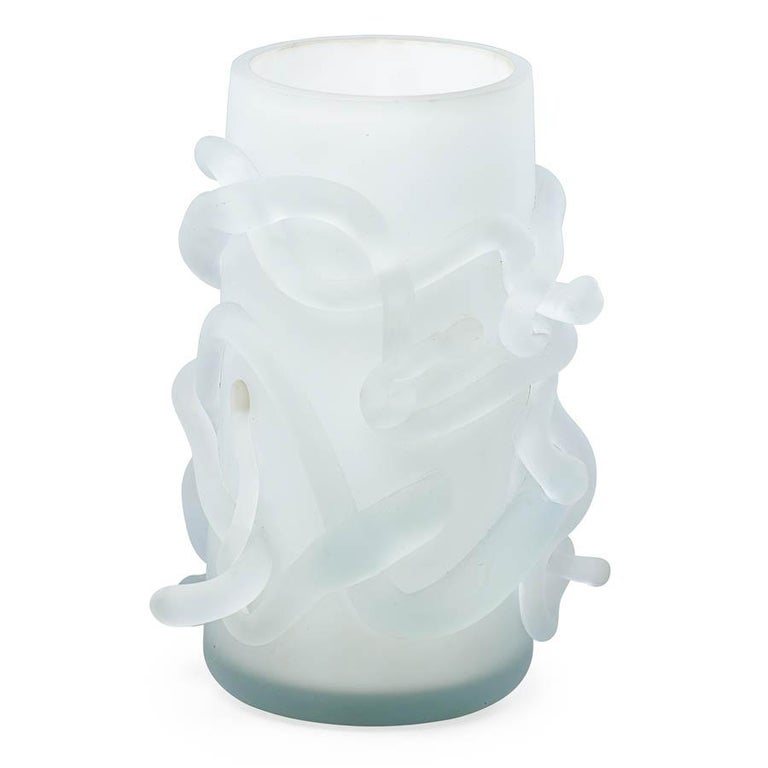 American Rasta Vase / Rasta Bowl:  Hand Blown Etched Glass by Jordan Mozer, 2008 For Sale