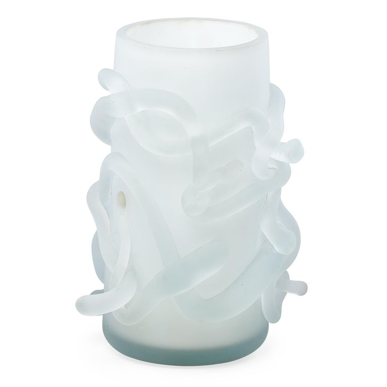 The Rasta Vase was made in Chicago, Il in 2008-2010. It is composed of hand-blown etched glass inspired by the spirit and coiffure of Bob Marley. These pieces were originally created in 2008 as lighting for for América's Restaurant in Houston,