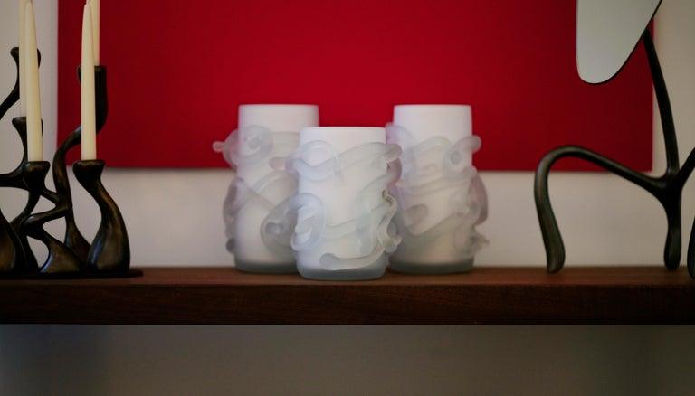 Rasta Vase / Rasta Bowl:  Hand Blown Etched Glass by Jordan Mozer, 2008 For Sale 5