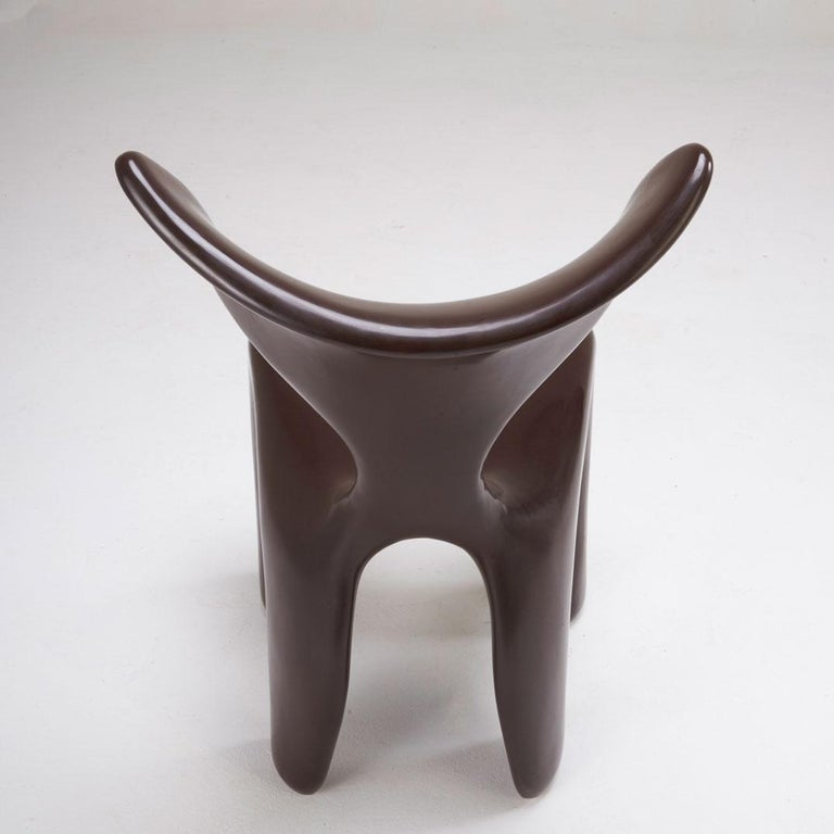 East Dining and Lounge Chair, Integrally Colored Chocolate Resin Jordan Mozer In Excellent Condition For Sale In Chicago, IL