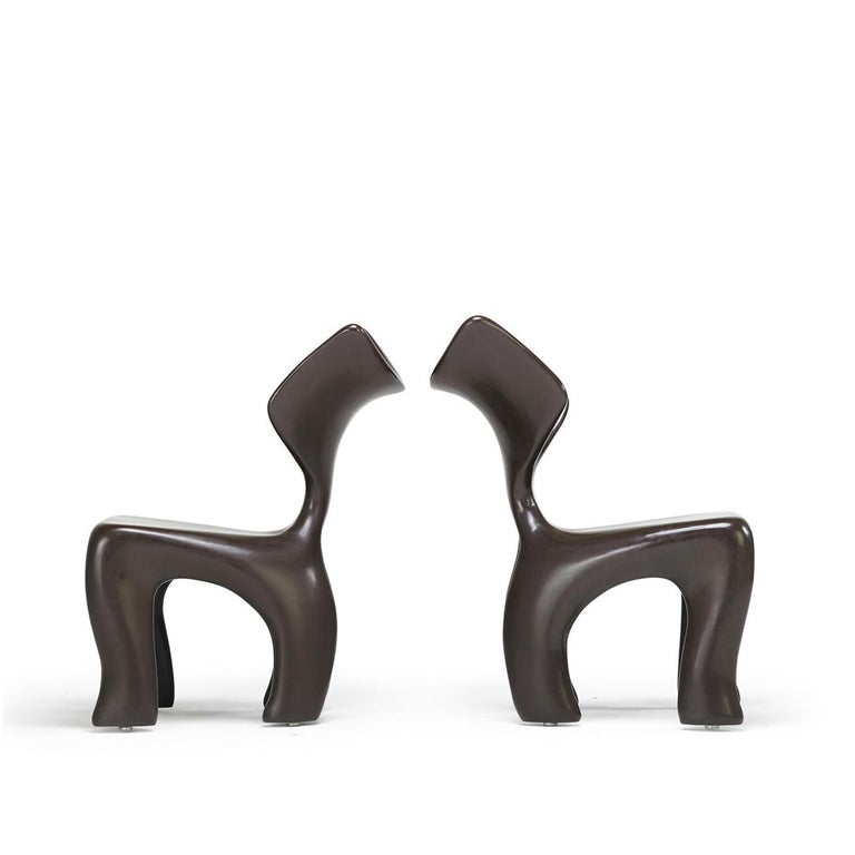 Cast East Dining and Lounge Chair, Integrally Colored Chocolate Resin Jordan Mozer For Sale