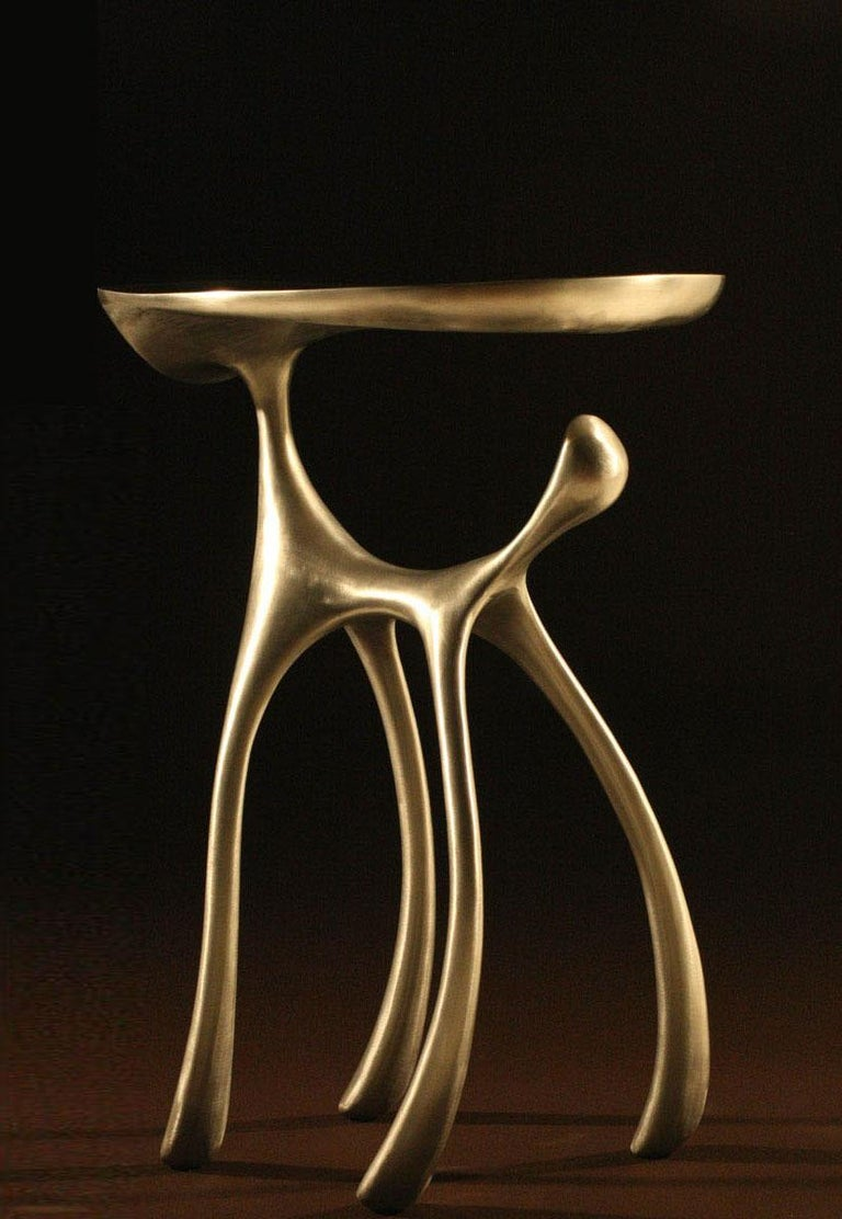 Cast aluminum creature side table / occasional table was created in Chicago by Jordan Mozer for Americas Restaurant in River Oaks, Houston in 2008. Measures: 17.5