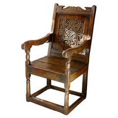 Mid-17th Century Carved Oak Wainscot Chair