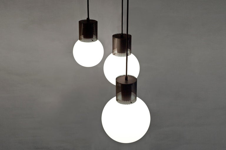 Modern Perf Pendant Light Small-Black Perforated Tube, Glass Round Orb Shade For Sale