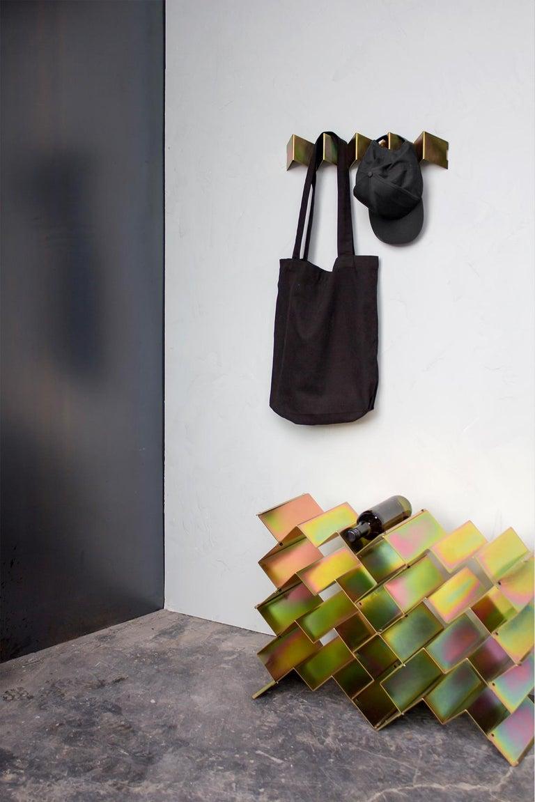 Modern Fold Wine Rack, Iridescent Yellow Zinc, Geometric, Brutalist Stacking Storage For Sale