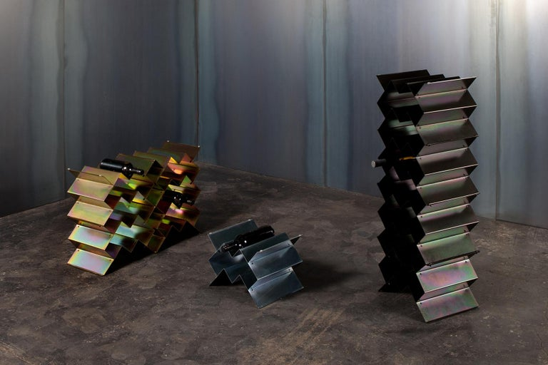 Modern Fold Wine Rack, Iridescent Silver Zinc, Geometric, Brutalist Stacking Storage For Sale