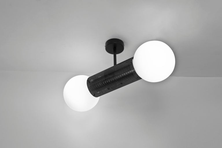 Plated Perf Double Pendant Light, Brass Perforated Tube, Glass Round Orb Shades For Sale