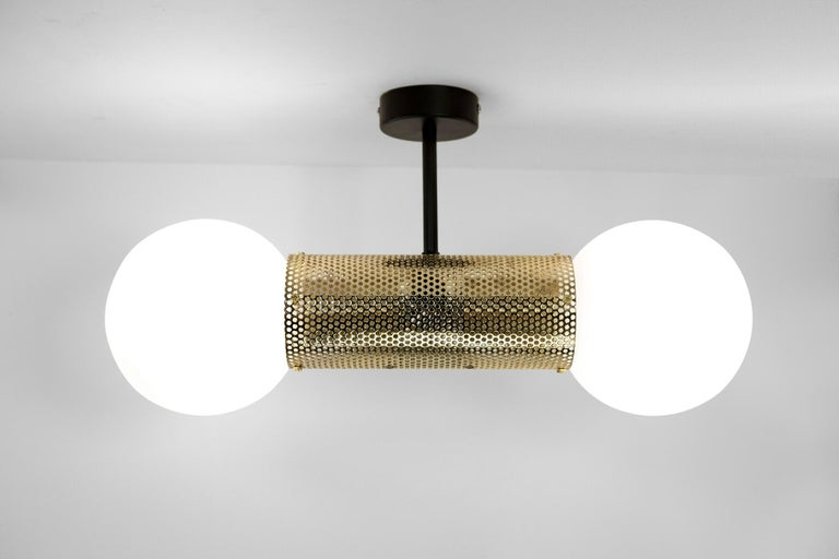 Australian Perf Double Pendant Light, Matte Black Perforated Tube, Glass Round Orb Shades For Sale