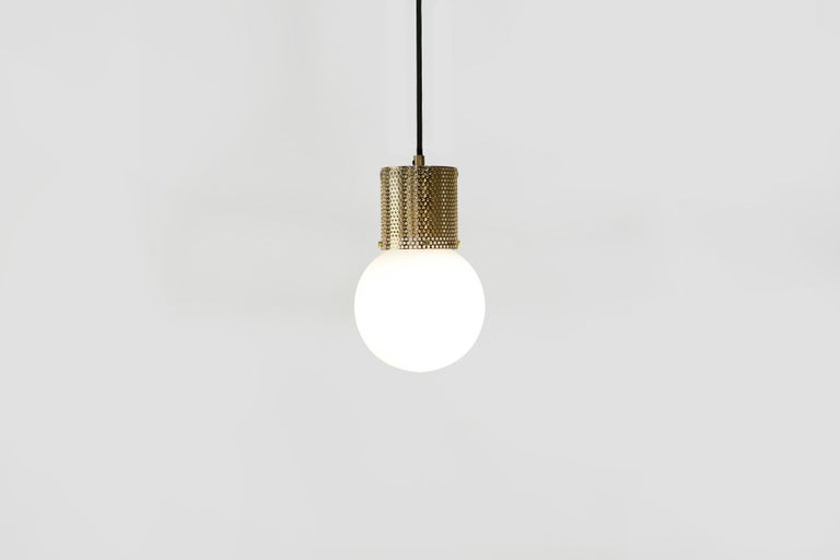 Paint Perf Pendant Light Small-Black Perforated Tube, Glass Round Orb Shade For Sale