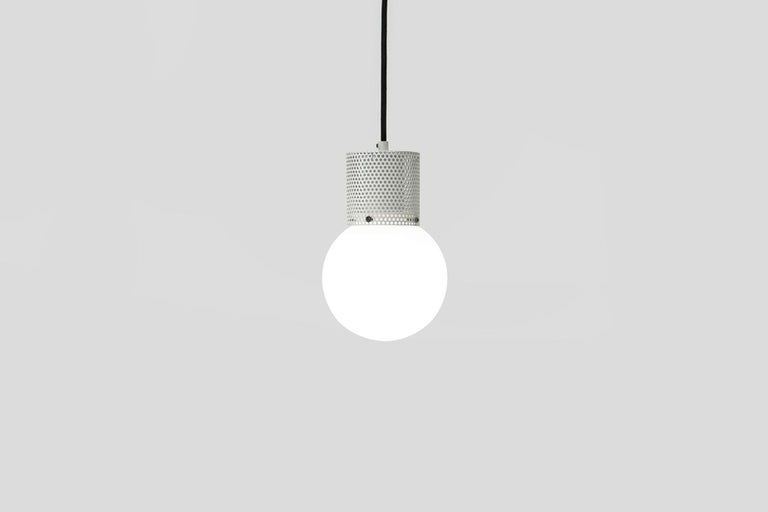 Perf Pendant Light Small-Black Perforated Tube, Glass Round Orb Shade For Sale 1