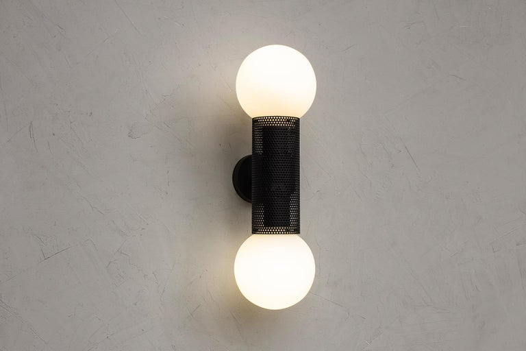 Contemporary Perf Double Wall Sconce, Brass Perforated Tube, Glass Round Orb Shades For Sale